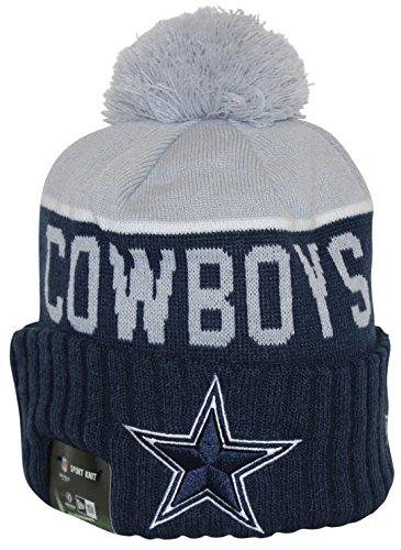 New Era NFL15 On-Field Sport Knit Dallas Cowboys Navy Gray Pom Beanie