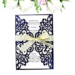 PONATIA 25PCS Laser Cut Invitations Card With Ribbon For Wedding Bridal Shower Engagement Birthday Graduation Invitation Cards (Royal Blue)