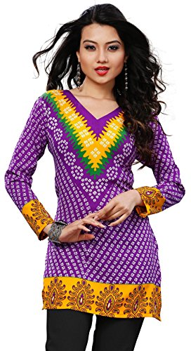 Womens India Tunic Top Kurti Printed Blouse Indian Clothing – S…Bust 34 inches, Purple