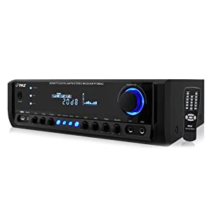 Home Audio Power Amplifier System - 300W 4 Channel Theater Power Stereo Sound Receiver Box Entertainment w/ USB, RCA, AUX, Mic w/ Echo, LED, Remote - For Speaker, iPhone, PA, Studio Use - Pyle PT390AU