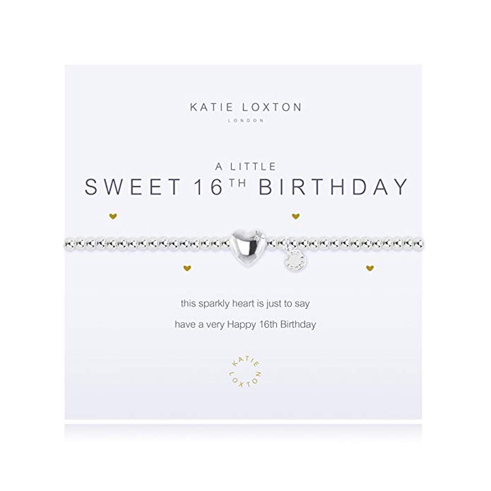 Katie Loxton A Little Sweet 16th Birthday Women's Adjustable Silver Charm Bangle Bracelet by Katie Loxton