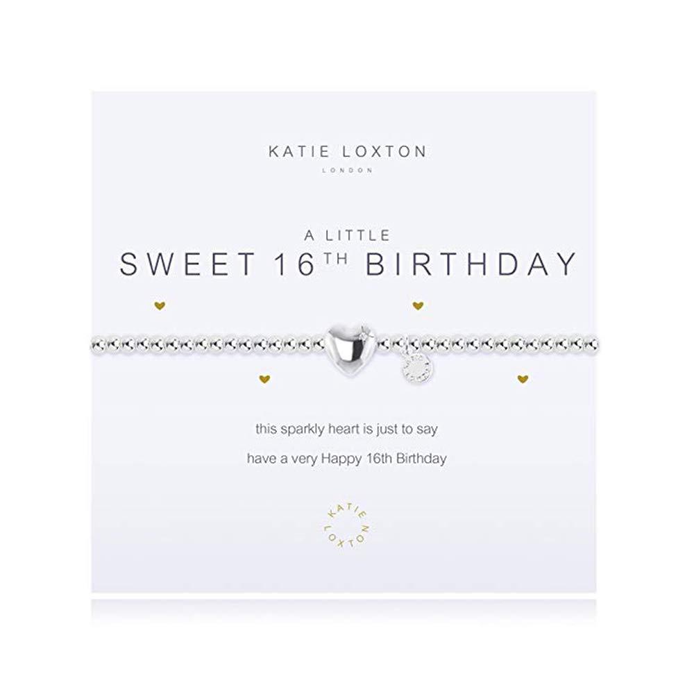 Katie Loxton A Little Sweet 16th Birthday Women's Adjustable Silver Charm Bangle Bracelet
