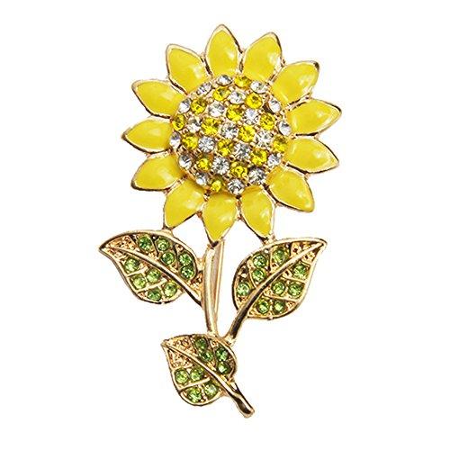 Partyfareast Elegant Rhinestone Brooch Pin Jewelry For Women Girls (sunflower) (Brooch Sunflower Crystal)