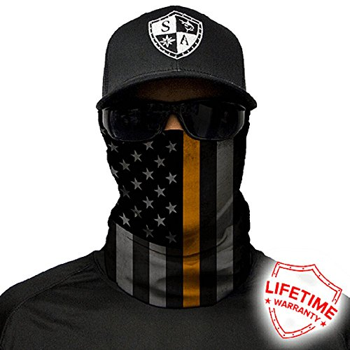 Salt Armour Face Mask Shield Protective Balaclava Bandana Microfiber Tube Neck Warmer (Thin Gold Line)