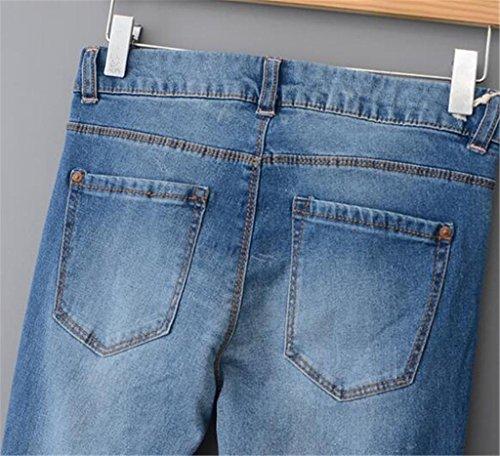 Wgwioo Jeans De Couleur Unie Forme Jambe Droite Power Curvy Blue Denim Stretch Détruire Skinny Déchiré En Difficulté Pocket Slim Jeans/Pantalons