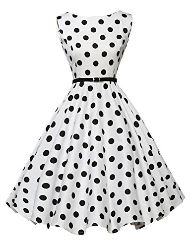 GRACE KARIN Sleeveless Picnic Dress for Women Short Polka Dots Size XS F-6]()
