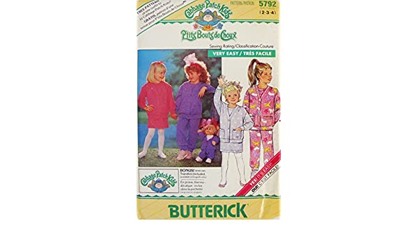 Amazon.com: BUTTERICK 5792 CABBAGE PATCH KIDS GIRLS CARDIGAN, TOP, PANTS, SKIRT, + IN-ON TRANSER (SZ 2 3 4) SEWING PATTERN: Arts, Crafts & Sewing