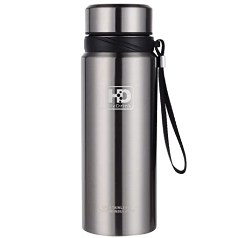 b0d7e4b8a0 Water Bottle Insulated Stainless Steel Wide Mouth Vacuum Thermos, Built-in  Filter, with Leak Proof Cap and Strap, Idea for Drinking at Home, Office,  Gym, ...