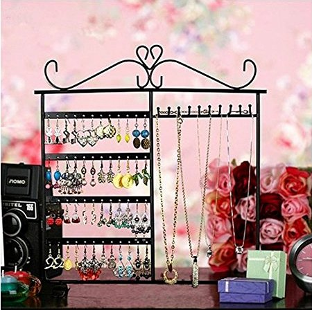 Adorox Earring Holder Jewelry Organizer Necklace Hanger Wall Stand Rack Black Classic Display (Black Wall Stand Rack Classic Display)