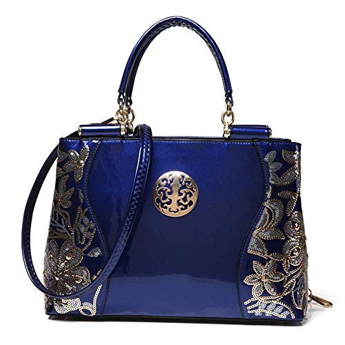 Bag Women Christmas Black Handbags Red blue Designer Ladies Ladies Handbags for Leather WWAVE Shoulder Blue PU Bags Patent gIFtOq