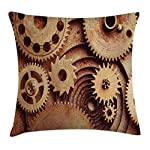 """Ambesonne Industrial Throw Pillow Cushion Cover, Inside The Clocks Theme Gears Mechanical Device Image in Steampunk Style Print, Decorative Square Accent Pillow Case, 20"""" X 20"""", Tan Brown 4"""