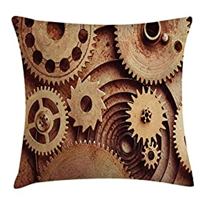 Ambesonne Industrial Throw Pillow Cushion Cover, Inside The Clocks Theme Gears Mechanical Device Image in Steampunk Style Print, Decorative Square Accent Pillow Case, 20″ X 20″, Tan Brown