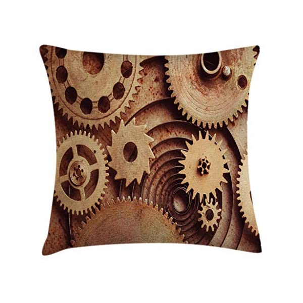 """Ambesonne Industrial Throw Pillow Cushion Cover, Inside The Clocks Theme Gears Mechanical Device Image in Steampunk Style Print, Decorative Square Accent Pillow Case, 20"""" X 20"""", Tan Brown 2"""