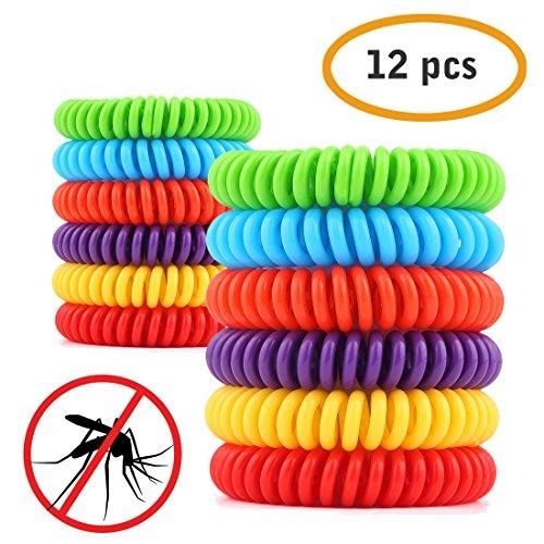 ARINO Moskito Mückenschutz Armband 12 Stücke Anti- Moskito Band Wasserdichter Insektenschutz für Indoor und Outdoor aus Silikon Mehrfarnbig