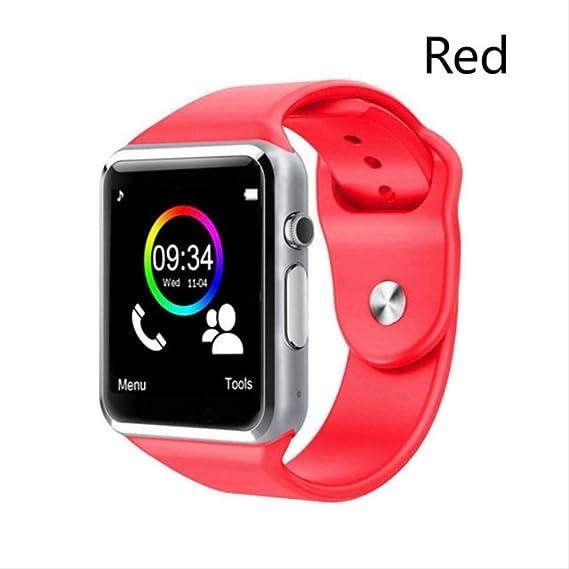Smartwatch A1 Armbanduhr Bluetooth Smart Watch Sport Schrittzähler Mit Sim Kamera Smartwatch Für Android Smartphone Männer Frauen Mit Box Rot Amazon De Uhren