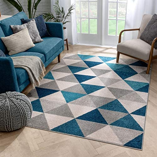 Well Woven Isometry Blue Grey Modern Geometric Triangle Pattern 9×13 9'3″ x 12'3″ Area Rug Soft Stain Resistant