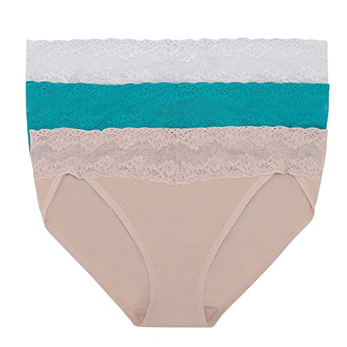 Natori Women's Bliss Perfection Vkini 3PK, Frost/Turquoise/Cocoon, OS