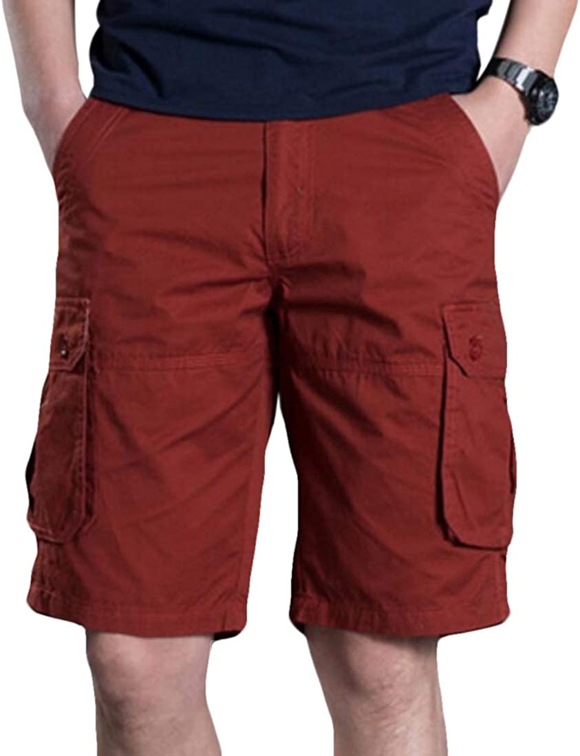 mydeshop Mens Cargo Shorts Relaxed Fit Multi-Pocket Cargo Outdoor Cotton Shorts Red 37