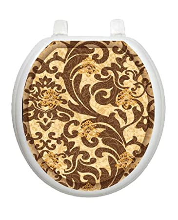 Tuscany Filigree TT-1114-R Round Brown Wallpaper Paisley Cover Bathroom