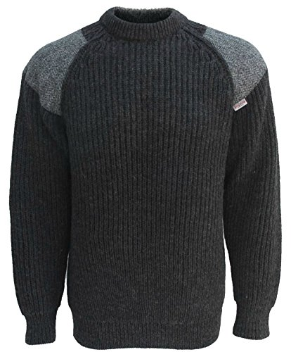 Niffy Ecosse Classic Crew Neck Sweater | Harris Tweed Patches | 100% British Wool | # 41120 (L, Charcoal Black/White Patches)