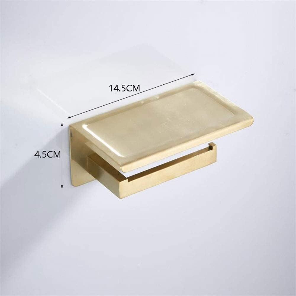 acier inoxydable per/çage distributeur de rouleau de tissu avec /étag/ère de rangement pour t/él/éphone portable bross/é LifeX Porte-papier hygi/énique dor/é avec support montage mural avec vis