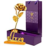 Skylofts 24K Golden Rose with Love Stand , Gift Box and Carry Bag - Best Valentine's Day Gift, Birthday Gifts Gold Dipped Rose (With Love Stand)