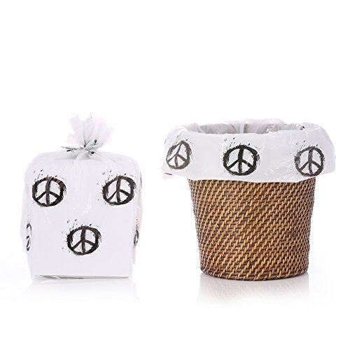 Reusable Peace Sign Plastic Gift Wrap Bags - Reuse as Pretty Trash Bags - 10 Count - 17