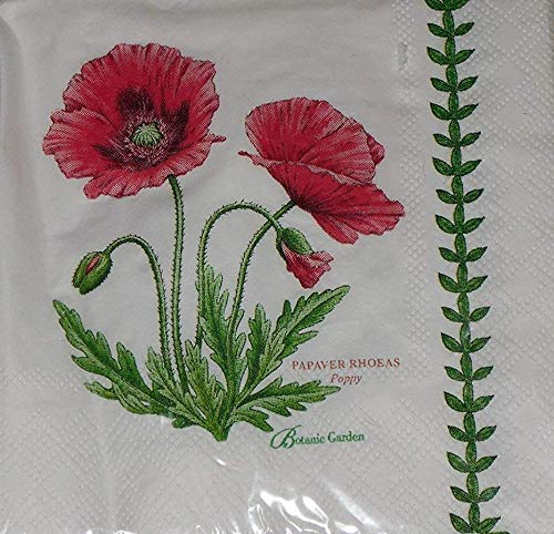 (Botanic Garden Poppy Portmeirion by CR Gibson Paper Cocktail Beverage Napkins 20 Count )