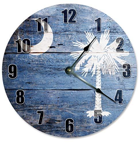 (Sugar Vine Art SOUTH CAROLINA CRESCENT AND PALMETTO TREE CLOCK Decorative Round Wall Clock Home Decor Large 10.5