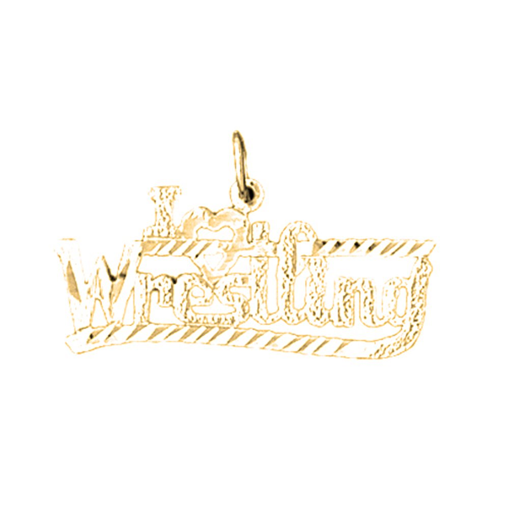Silver Yellow Plated I Love Wrestling Pendant with Chain - 16mm