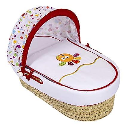Capazo para bebé MULTICOLOR bordado. Moisés realizado en PIQUÉ. Incluye: Vestidura+Colchita