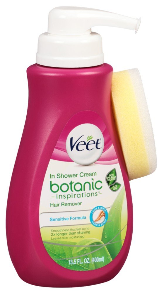 Veet Botanic In Shower Cream Hair Remover 13.5 Ounce Pump (399ml) (3 Pack)