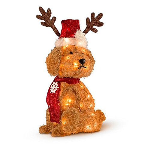 lighted goldendoodle outdoor christmas decoration 27 tall