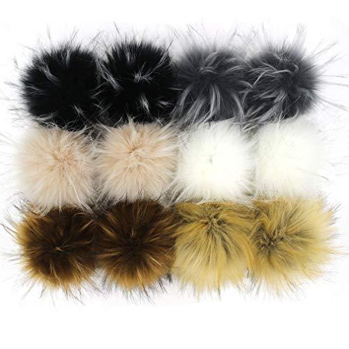 Furling DIY 12pcs Faux Raccoon Fur 4.3inch Pom Pom Ball for Knitting Hat DIY Accessories (Popular Mix)