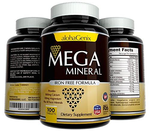 Mega multiminéral complète tout-en-un supplément ✮ ✮ sans fer formule fournit 1000 mg de Calcium, 500 mg de magnésium, ainsi que tous les minerais de Trace ✮ fièrement Made in USA ✮ 100 % remboursé, 100 comprimés