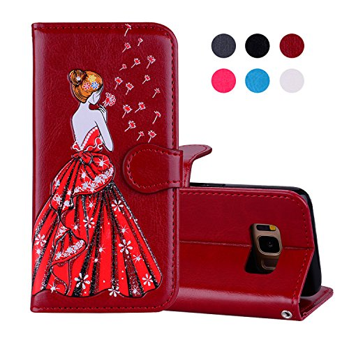 Galaxy S8 Plus Case, Ranyi [Bling Dandelion Girl] Wallet Case, [Card&ID Holder] [Kickstand Feature] Premium PU Leather Flip Magnetic Wallet Folio Case for Samsung Galaxy S8+ Plus (2017), deep red