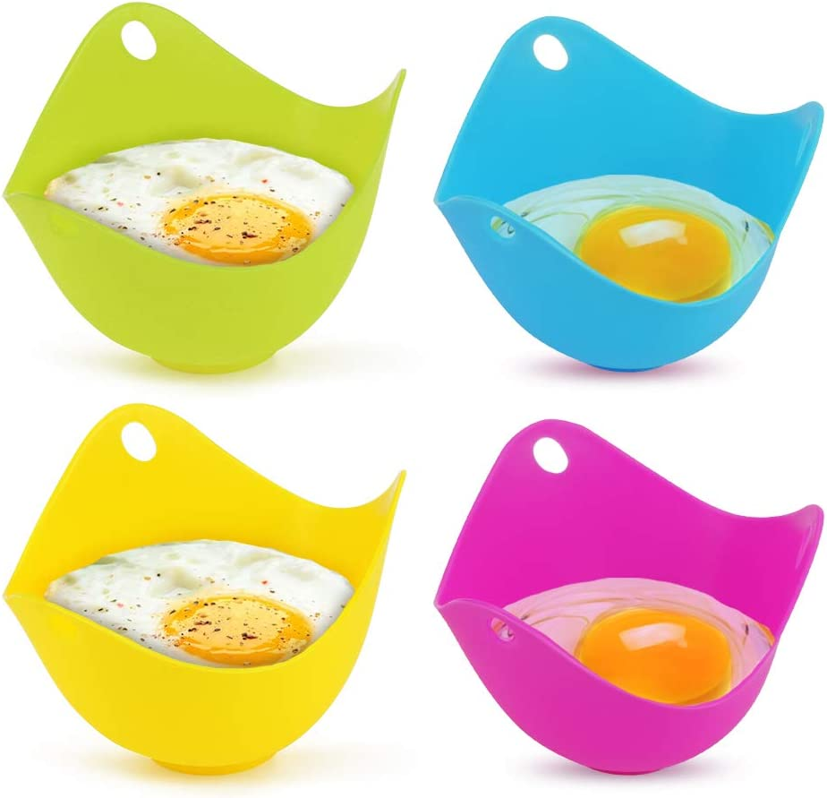 4pcs//set Silicone Egg Poacher Non-Stick Poached Eggs Cups Kitchen Cookware Tools