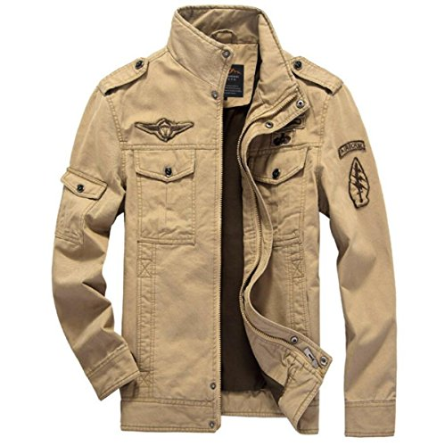 CHENSH Men's Casual Jacket Air Force One Cotton Wash Tooling Plus Size Male Coat Yellow
