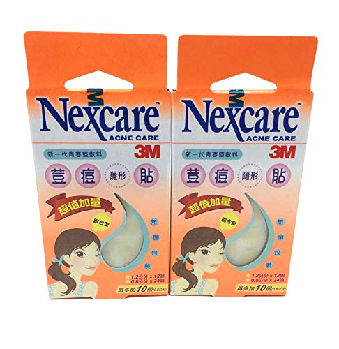 3M Nexcare Acne Absorbing Cover, Drug-Free Pimple Care Patch Stickers 2 Packs total 92 Patches (12mm x 24pcs and 8mm x 68pcs)