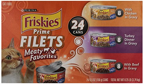 Purina Friskies Prime Filets Meaty Favorites Adult Wet Cat Food Variety Pack - (24) 5.5 Oz. Cans