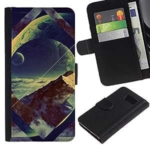 LECELL--Cuero de la tarjeta la carpeta del tirón Smartphone Slots Protección Holder For Samsung Galaxy S6 -- Geometría Space Mountain --