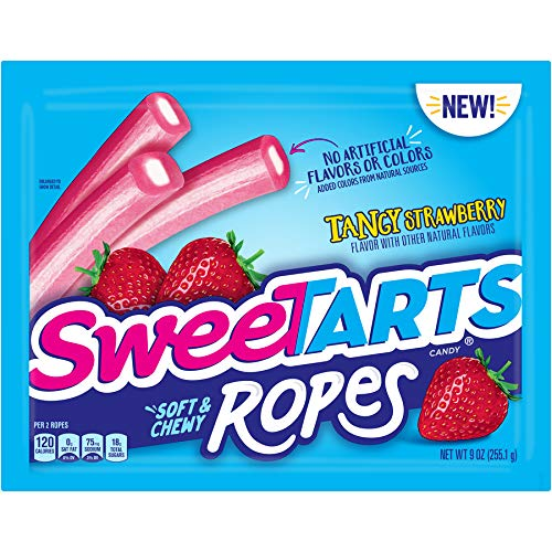SweeTARTS Ropes Tangy Strawberry, 9 Ounce (Pack of 12) by SweeTARTS