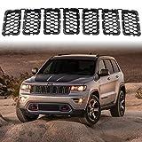 XBEEK 2018 Latest Honeycomb Matte Mesh Black Front Grill Inserts Fits Jeep Grand Cherokee 2018 2019 7PC Black