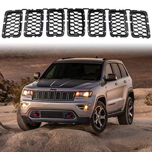 Latest Honeycomb Matte Mesh Black Front Grill Inserts Fits Jeep Grand Cherokee 2017 2018 2019 7PC