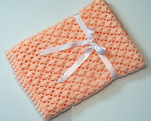 Lacy Peach Crocheted Baby Blanket by Custombearhug 36 by 43 Inches by CustomBearHugs
