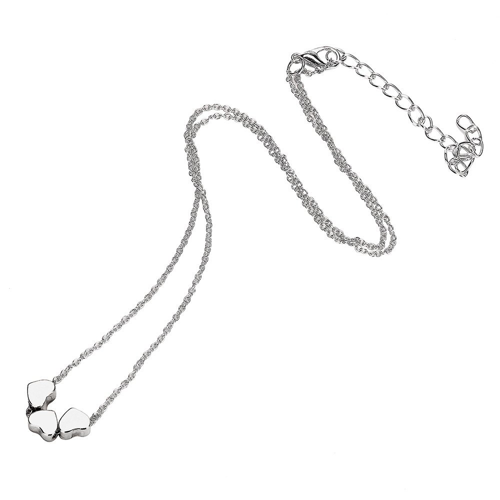 Womens Necklace Fashion Three Heart Pendant Necklace Jewelry Stainless Steel Chain Necklace Mixpiju (Silver)