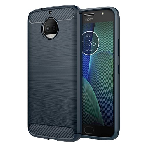 Motorola Moto G5S Plus Case, MoKo Flexible TPU Bumper Slim Fit Case Carbon Fiber Design Lightweight Shockproof Back Cover for Moto G5S+ 5.5inch (2017), Indigo