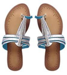 Peach Couture EMILY Thong Gladiator Strappy Summer Sandal with Polka Dot Sarong (Blue/Silver, 5)