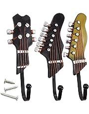 Conjunto de 3decorativo pared ganchos–ganchos, hierro, Shabby Chic ganchos para llaves en forma de guitarra, sombreros, abrigos, hogar, color marrón