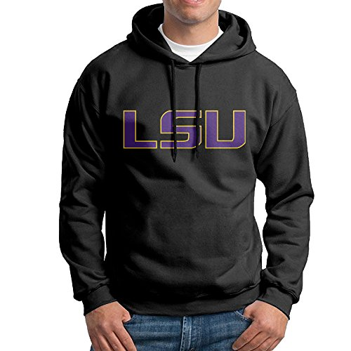 FUOALF Mens Pullover Louisiana State University LSU Hoodie Sweatshirts Black XL